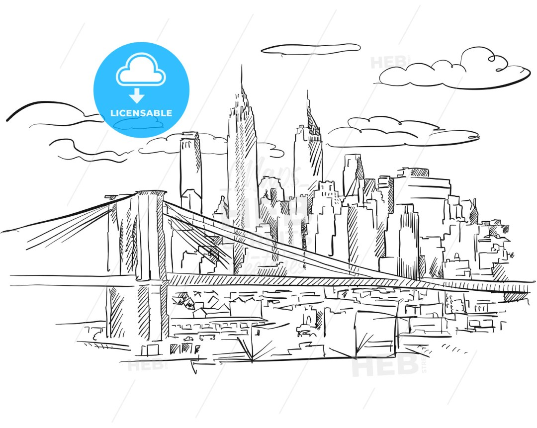 Manhattan and Brooklyn Bridge detailed Sketch