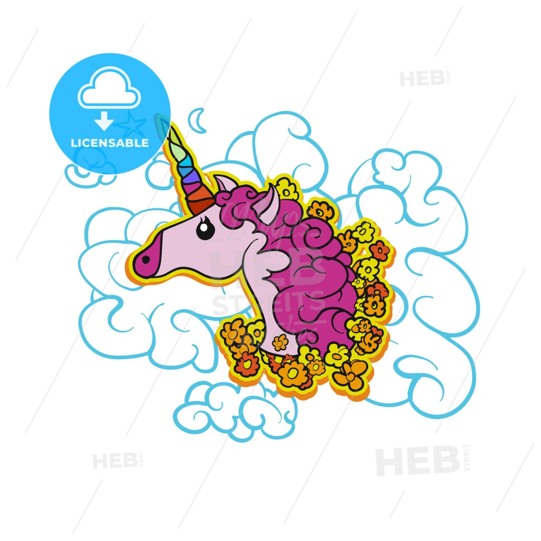 Pink Cute Unicorn on Cloud