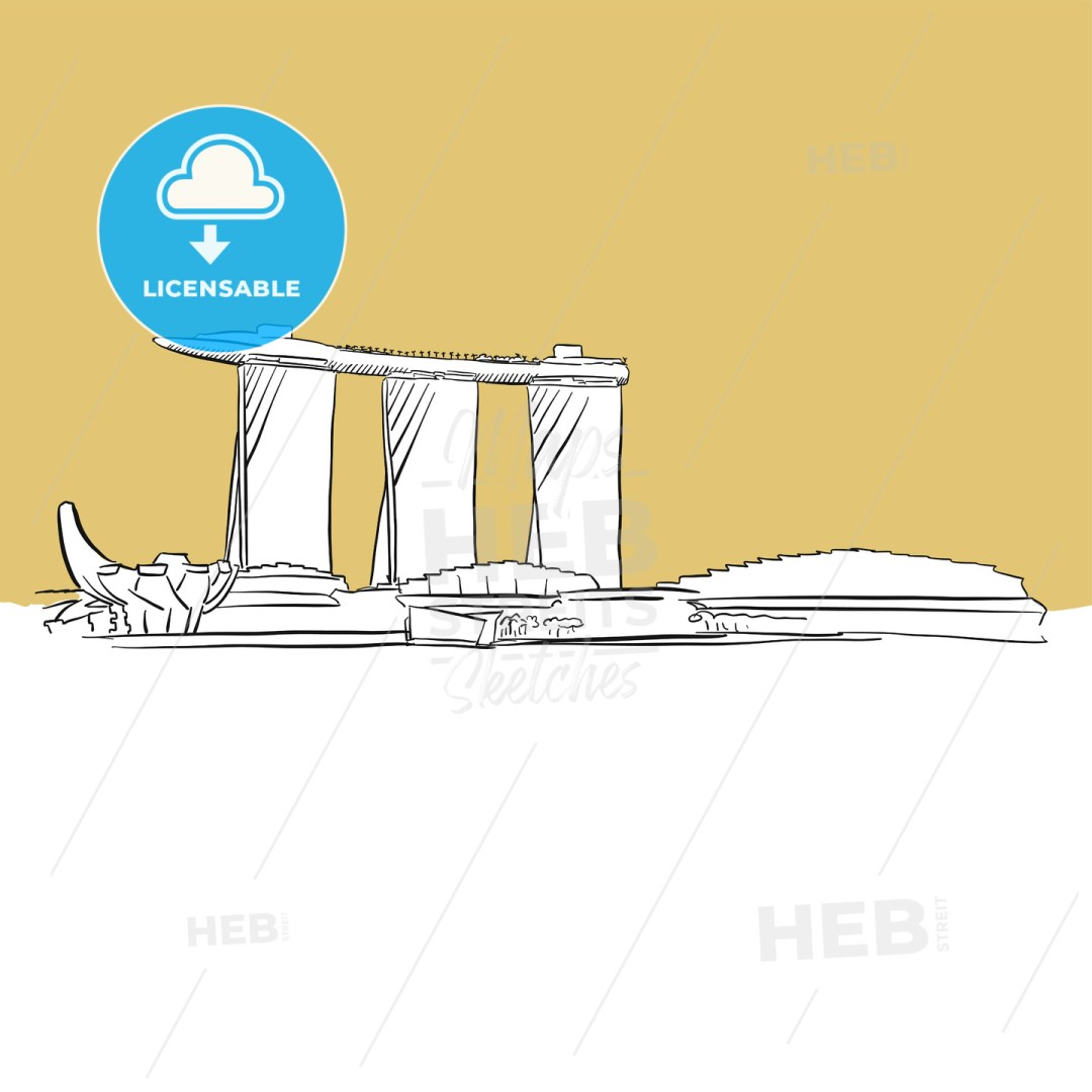Singapore Marina Bay Vector Sketch