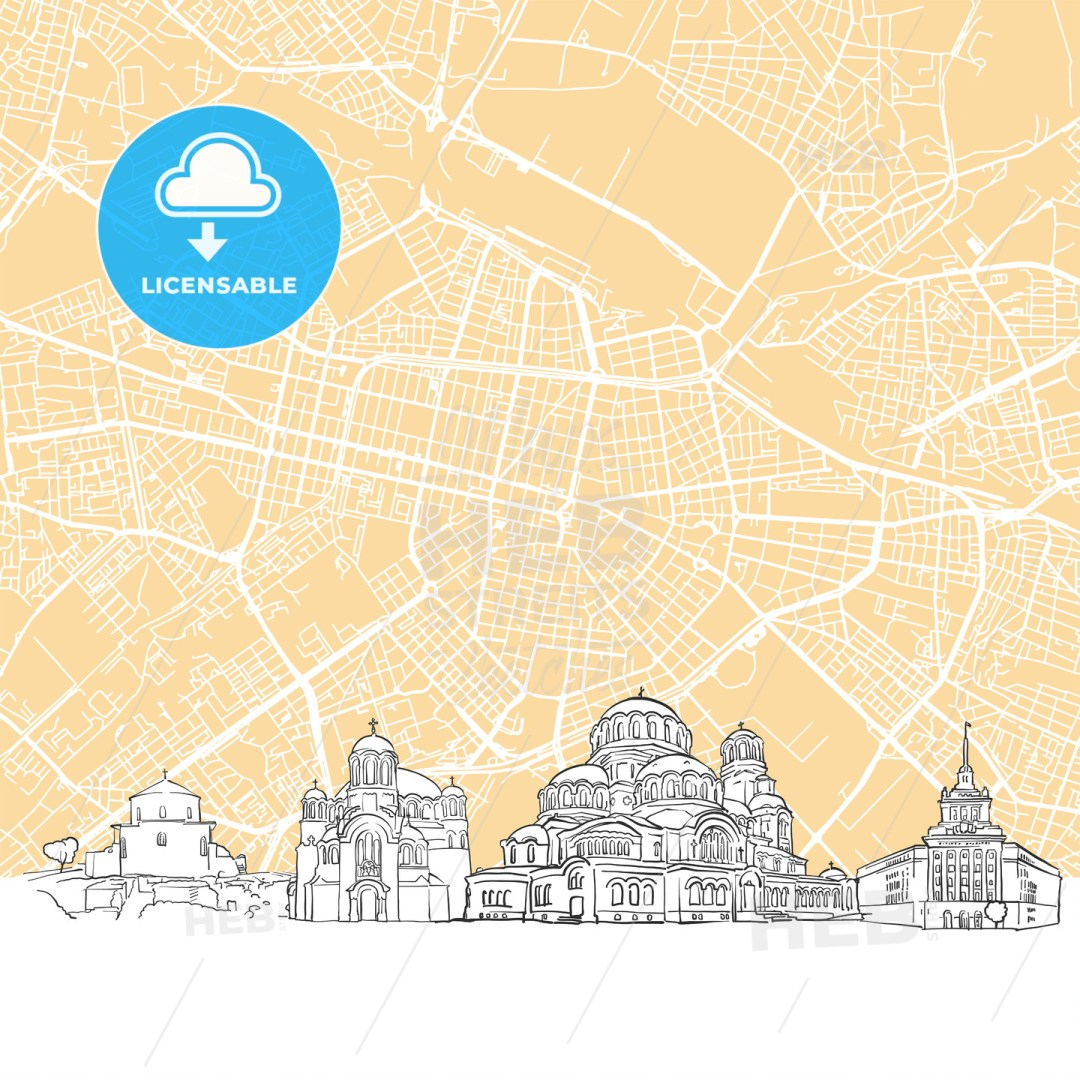 Sofia Bulgaria Skyline Map