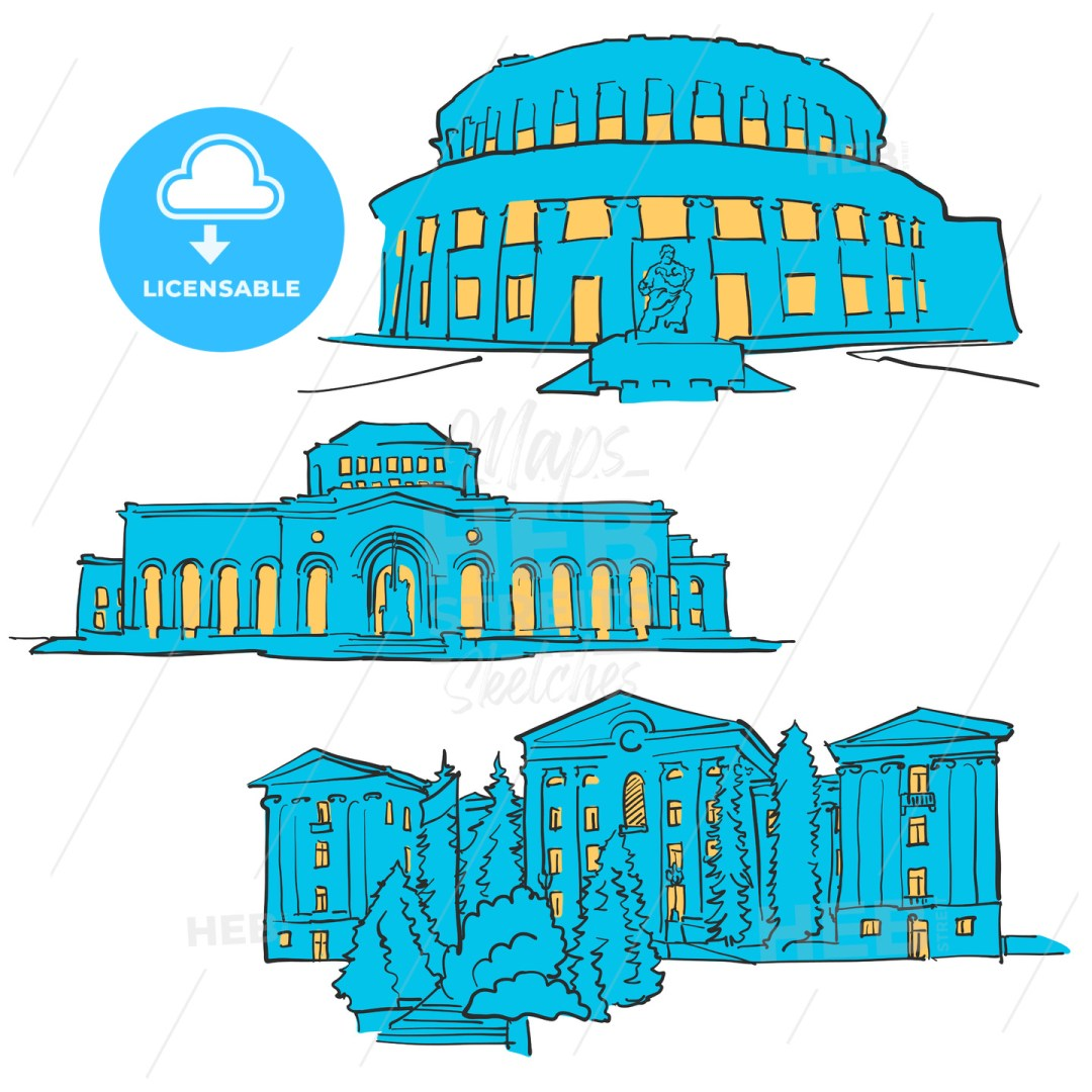 Yerevan Armenia Colored Landmarks