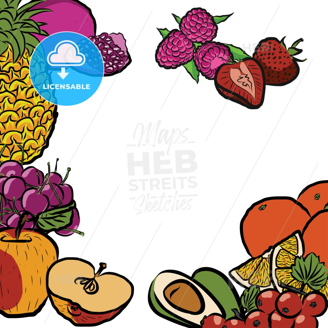 Fresh Summer Fruits in Circle