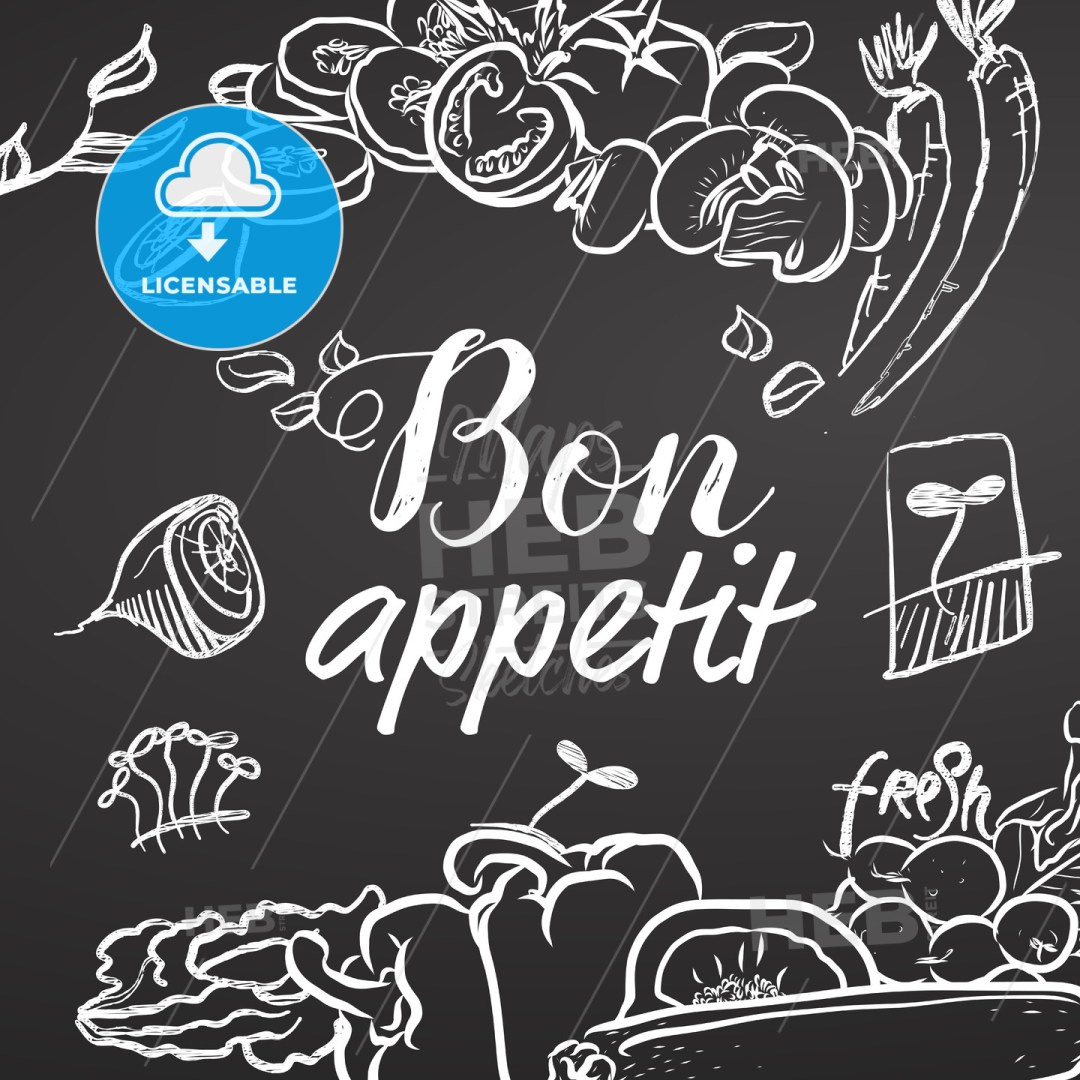 Bon Appetit Chalk Sketch on Blackboard