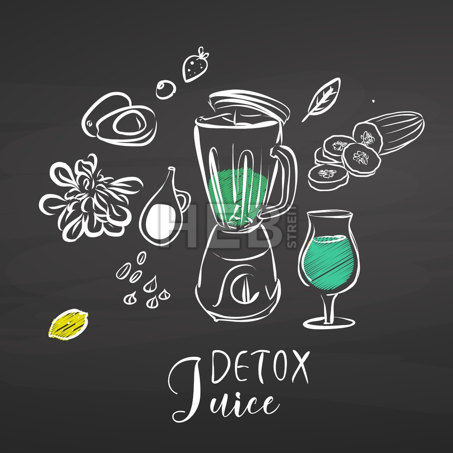 Detox juice ingredients on chalkboard