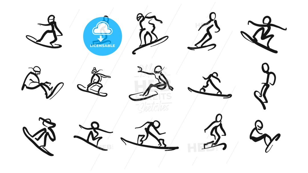 Hand drawn motion studies snoboarder icons