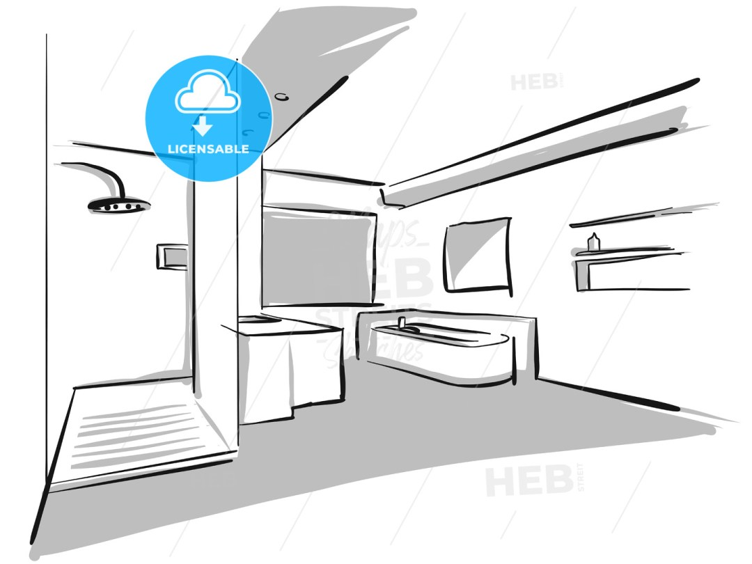 Interior bath design sketch