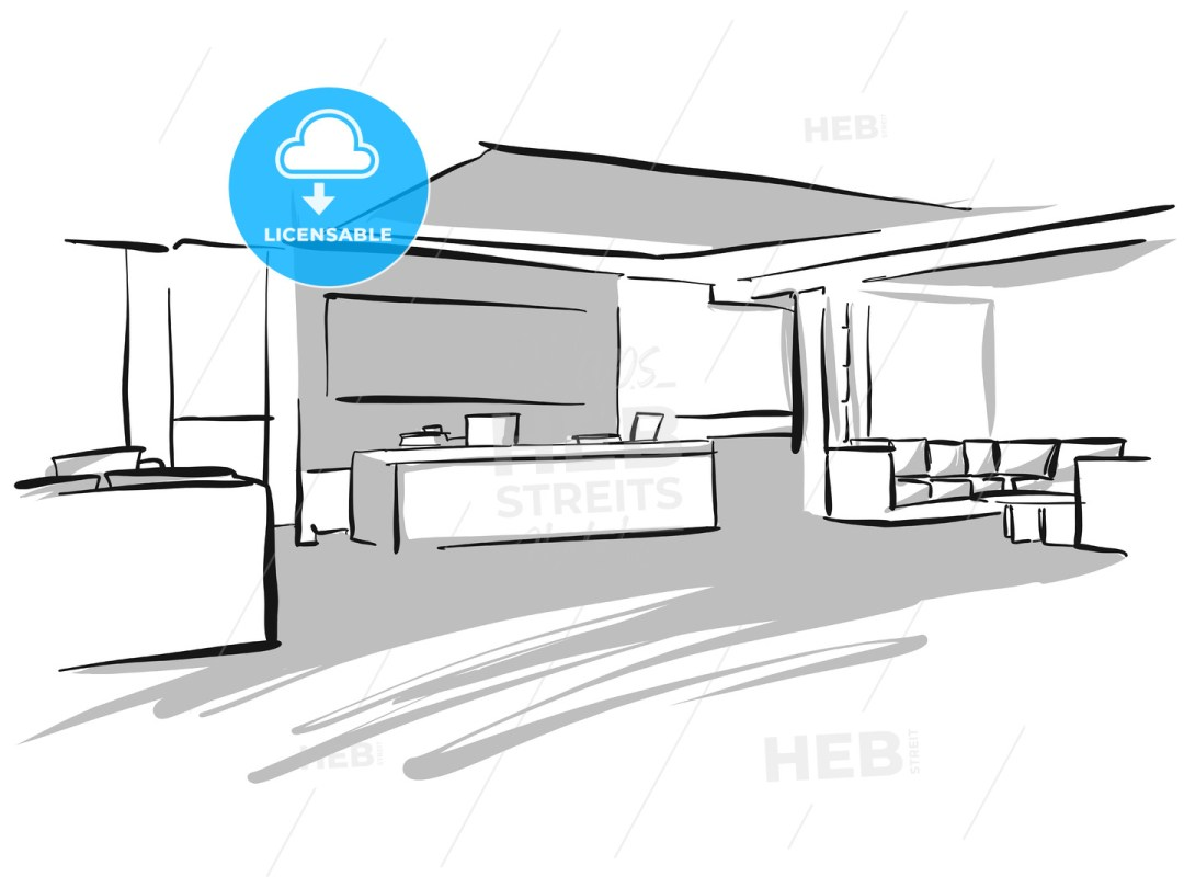 Office entry area design sketch