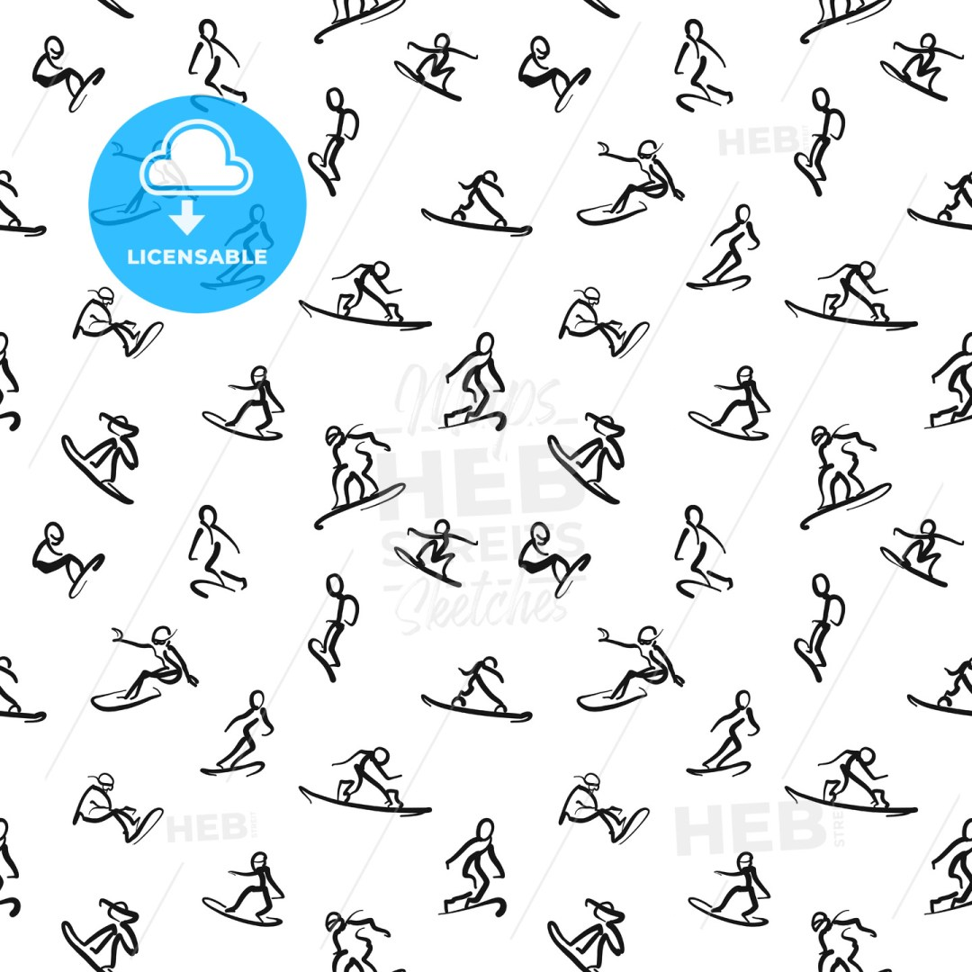 Snowboard Doodles - Calligraphic seamless wall art