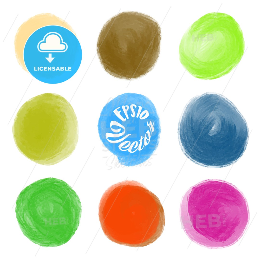 A set of round watercolor stains