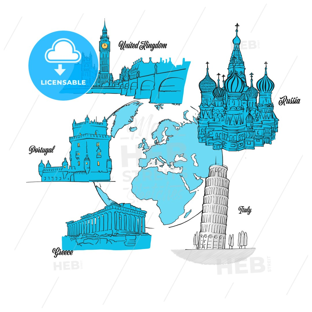 Europe Travel Landmarks on Globe