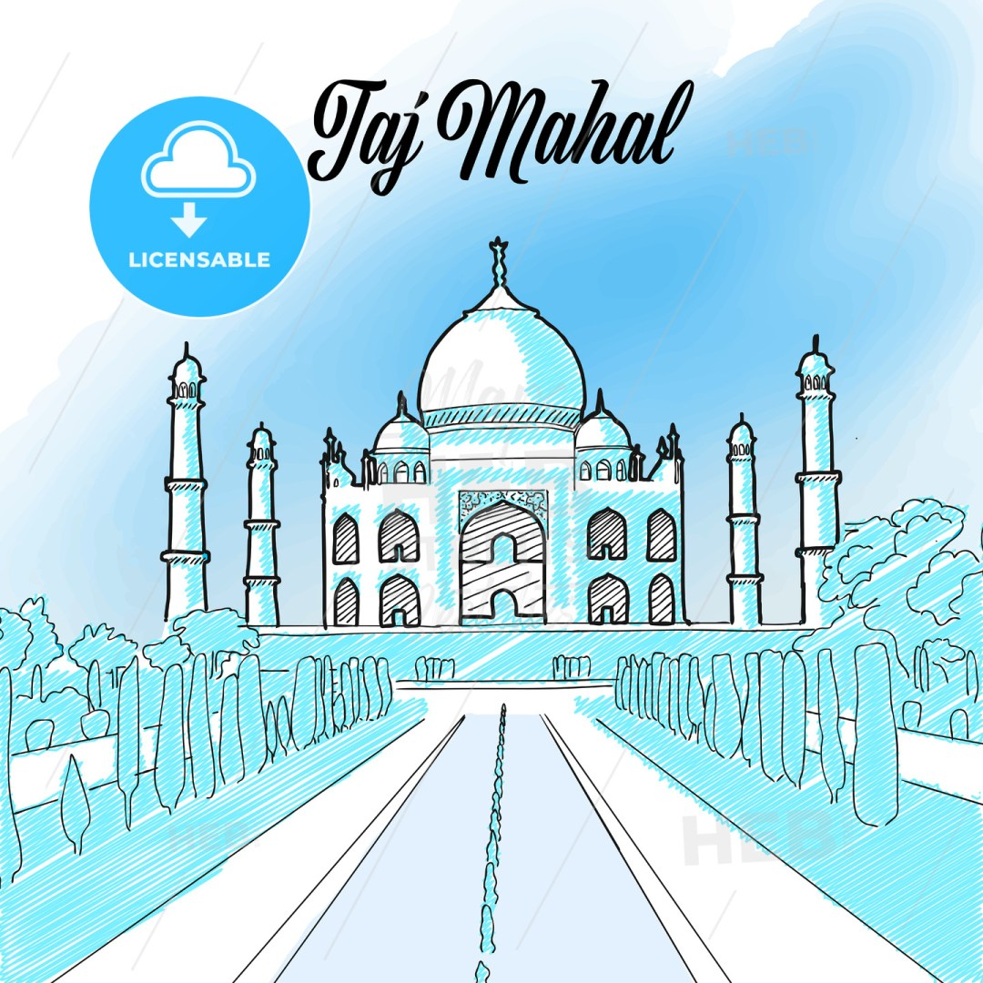 Taj Mahal Landmark Sketch