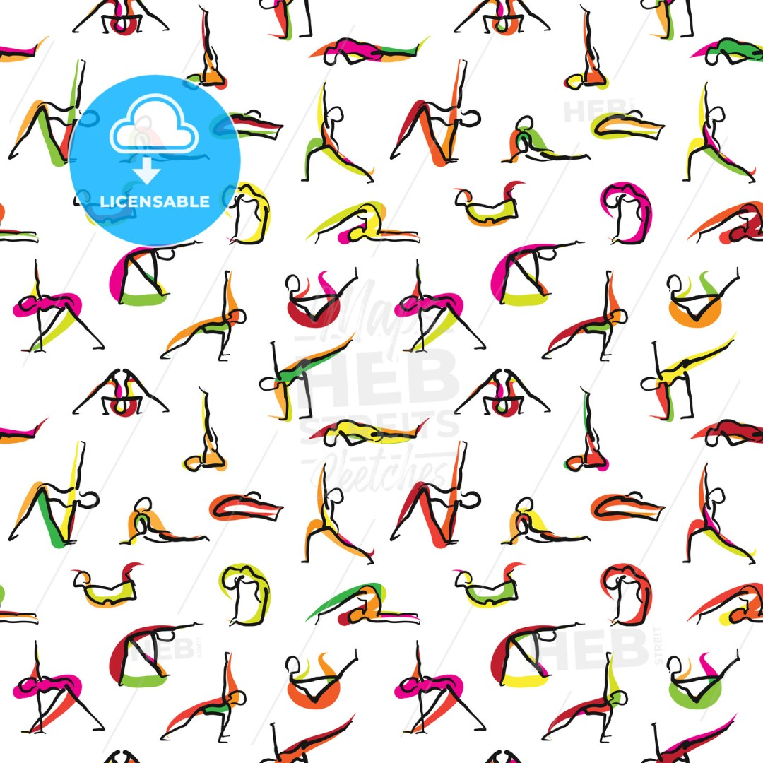 Yoga Seamless Wallpaper Pattern
