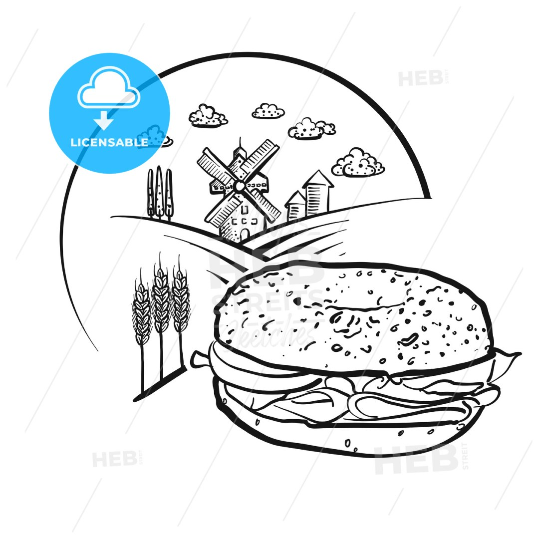 Bagel and Farm Logo Sketch. Vector label sign.