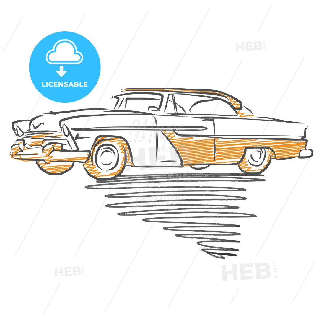 Old american car drawing