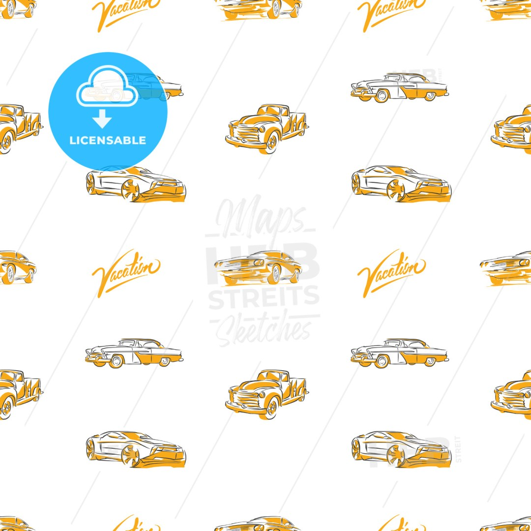 Old cars seamless pattern