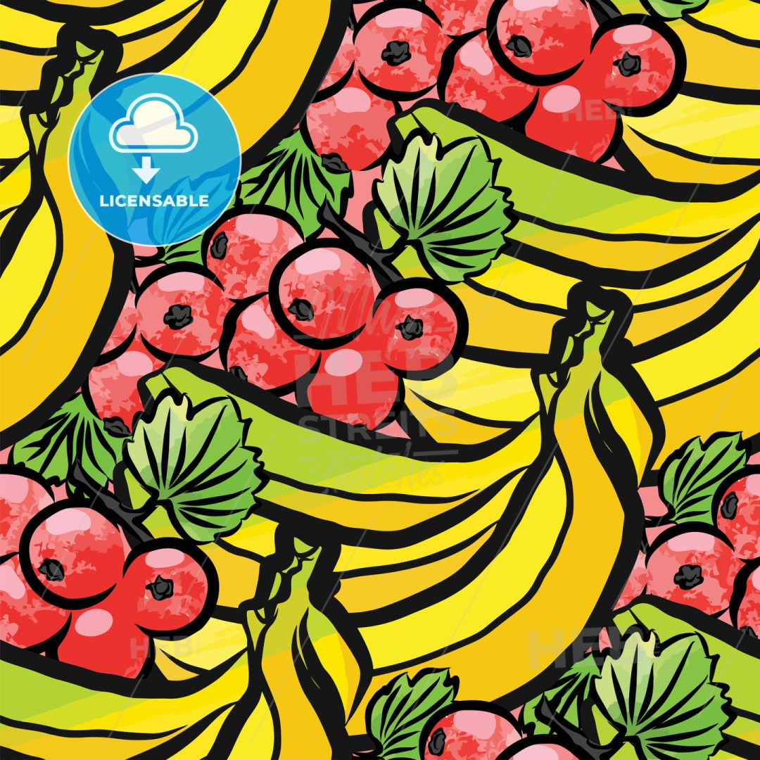 seamless pattern of currant and bananas