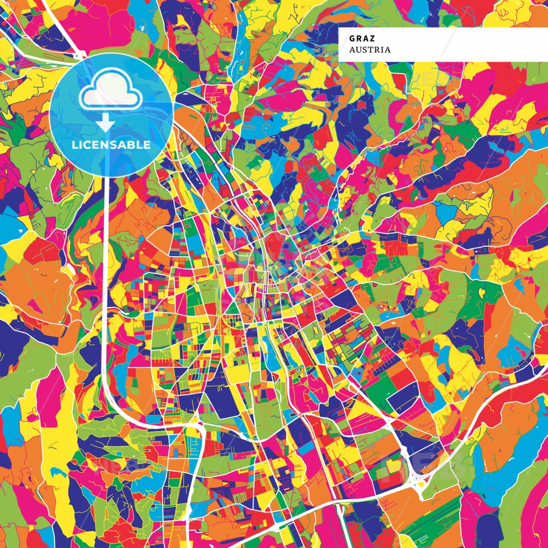 Colorful map of Graz, Austria