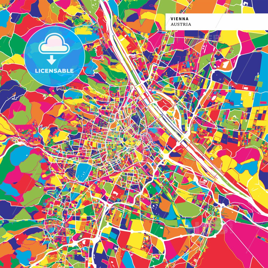 Colorful map of Vienna, Austria