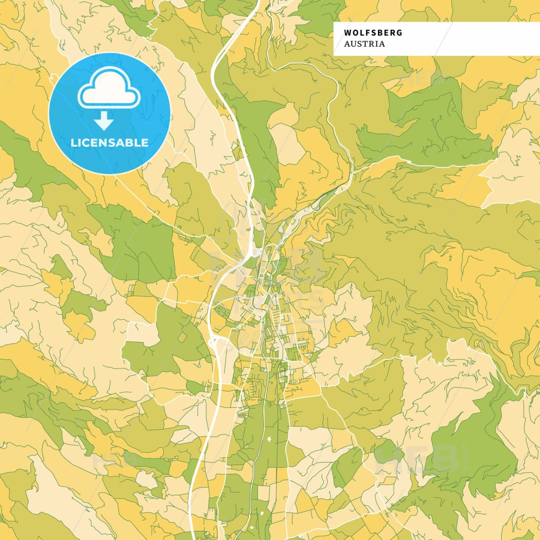 Colorful map of Wolfsberg, Austria