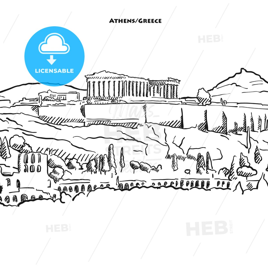 Drawing of Athens acroplolis.