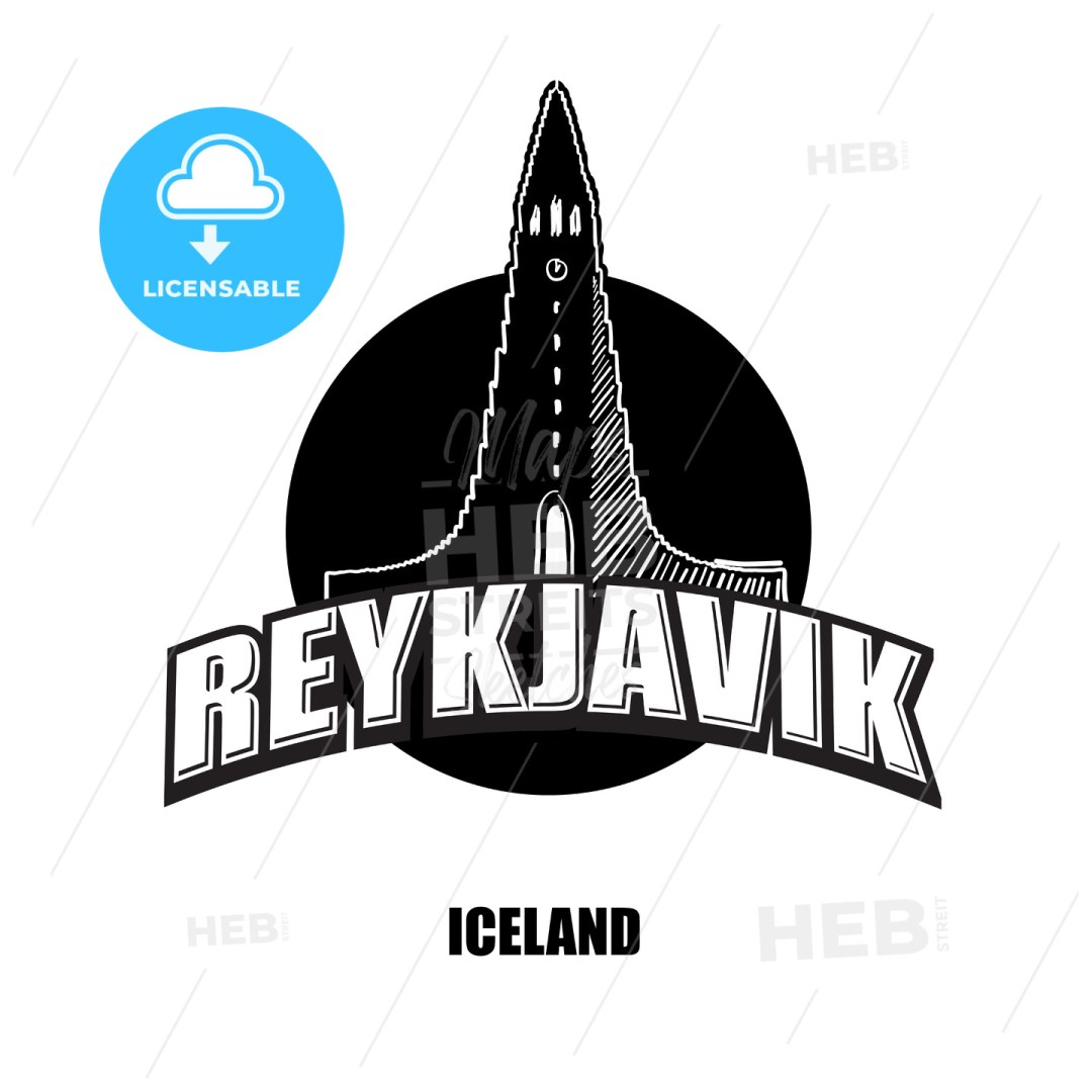 Reykjavik, church, black and white logo