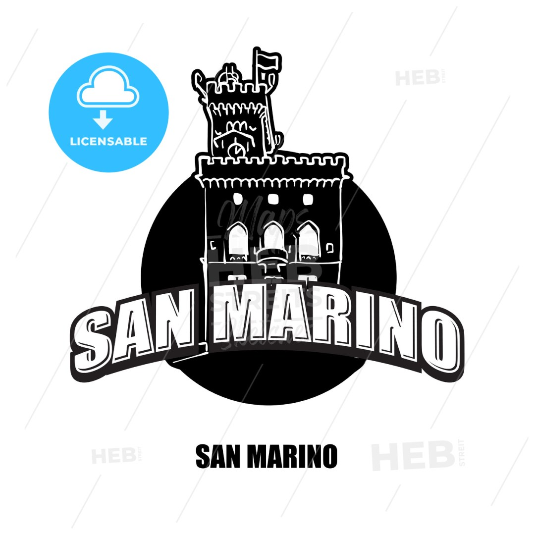 San Marino Castle black and white logo