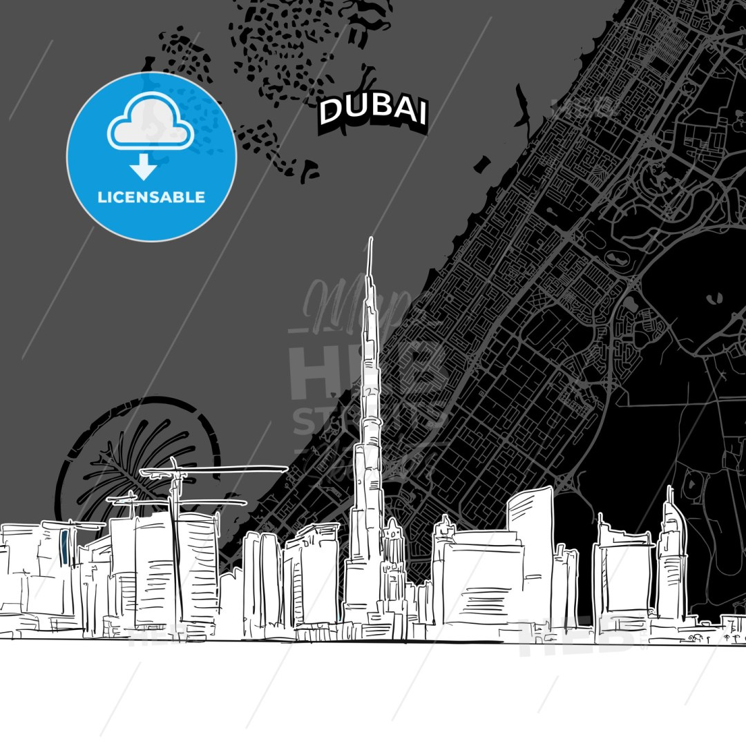 Dubai skyline with map