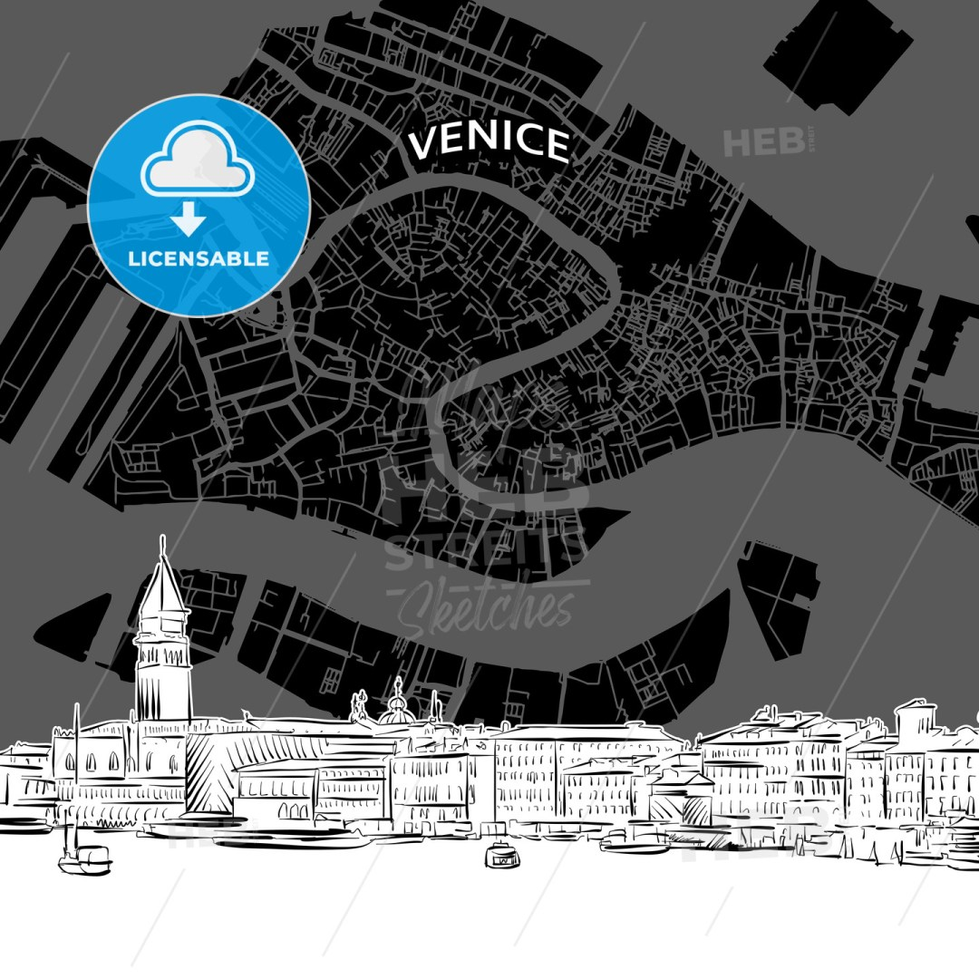 Venice skyline with map