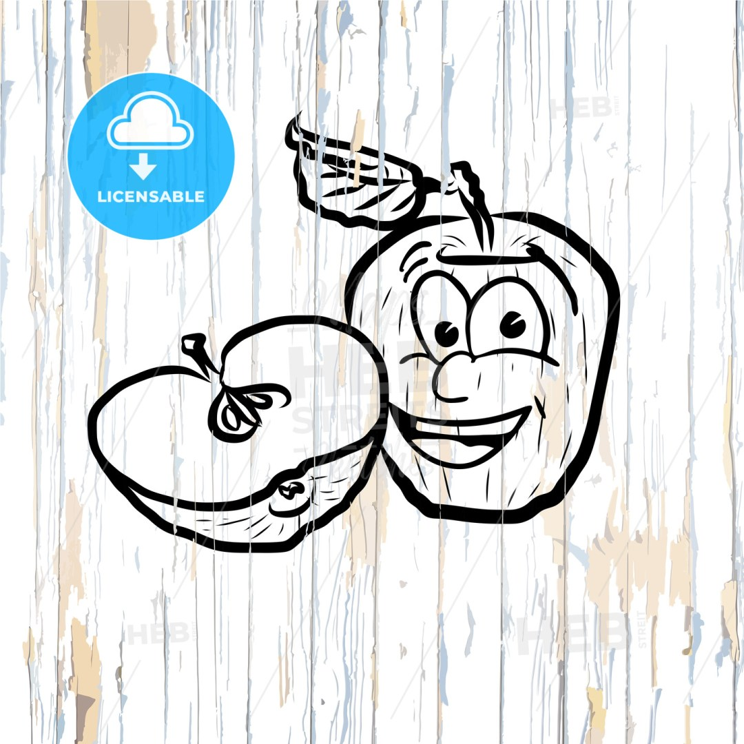 Apple icons sketches on wooden background