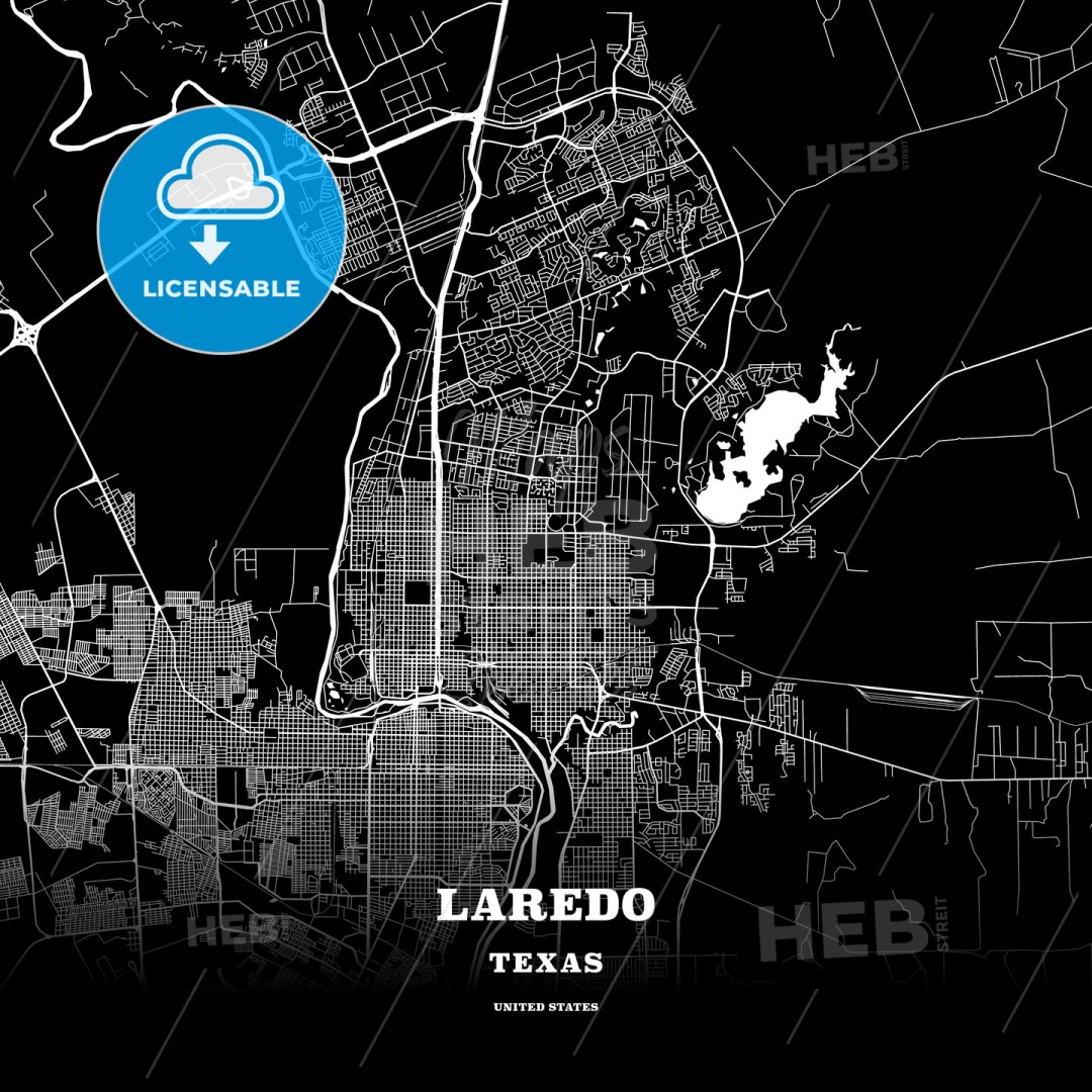 Black map poster template of Laredo, Texas