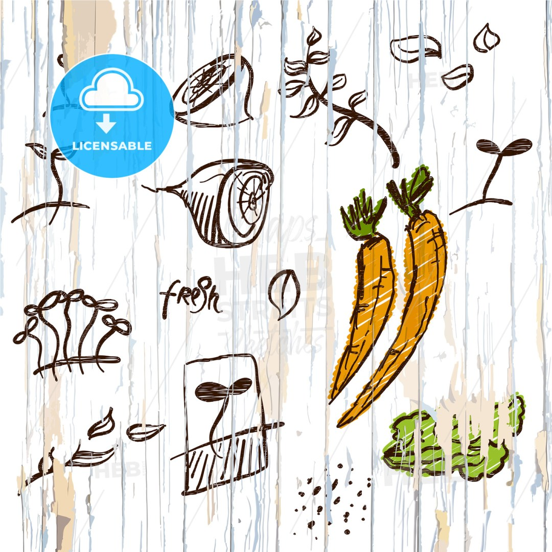 Sketched vegetables menu background