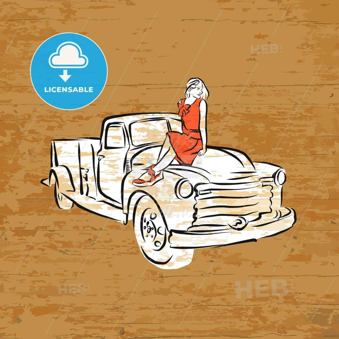 Vintage pickup truck on wooden background