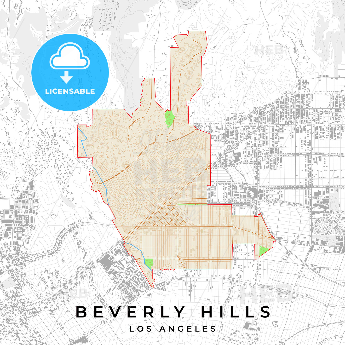 picture regarding Printable Map of Los Angeles known as Print Templates] [U.S.A.] Vector map of Beverly Hills, Los