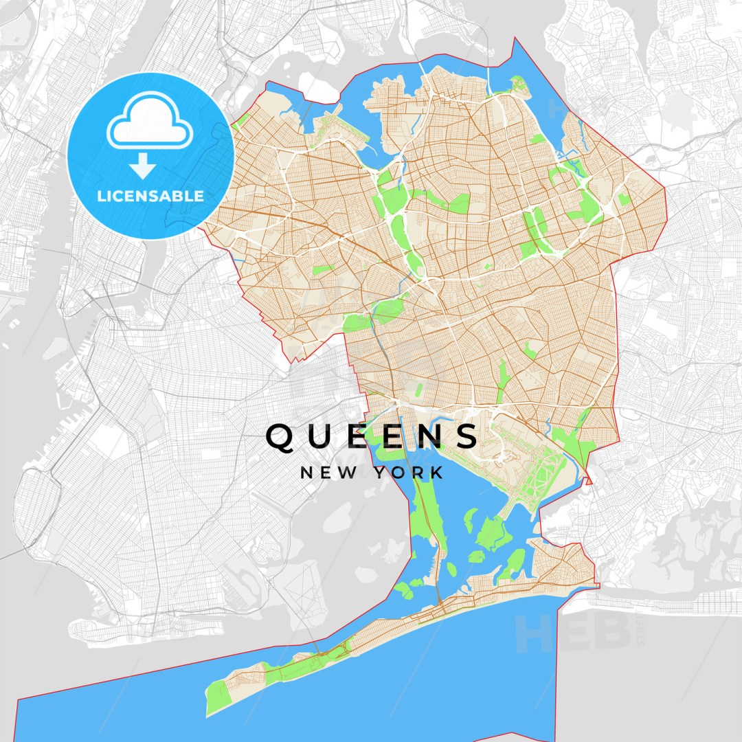 Vector map of Queens, New York, USA