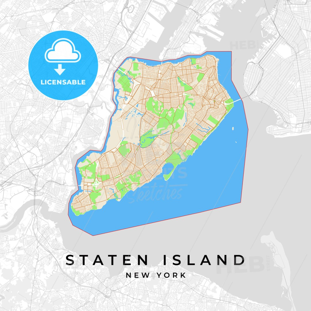 Vector map of Staten Island, New York, USA