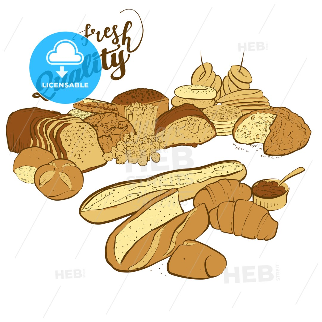 set of breads with fresh quality title