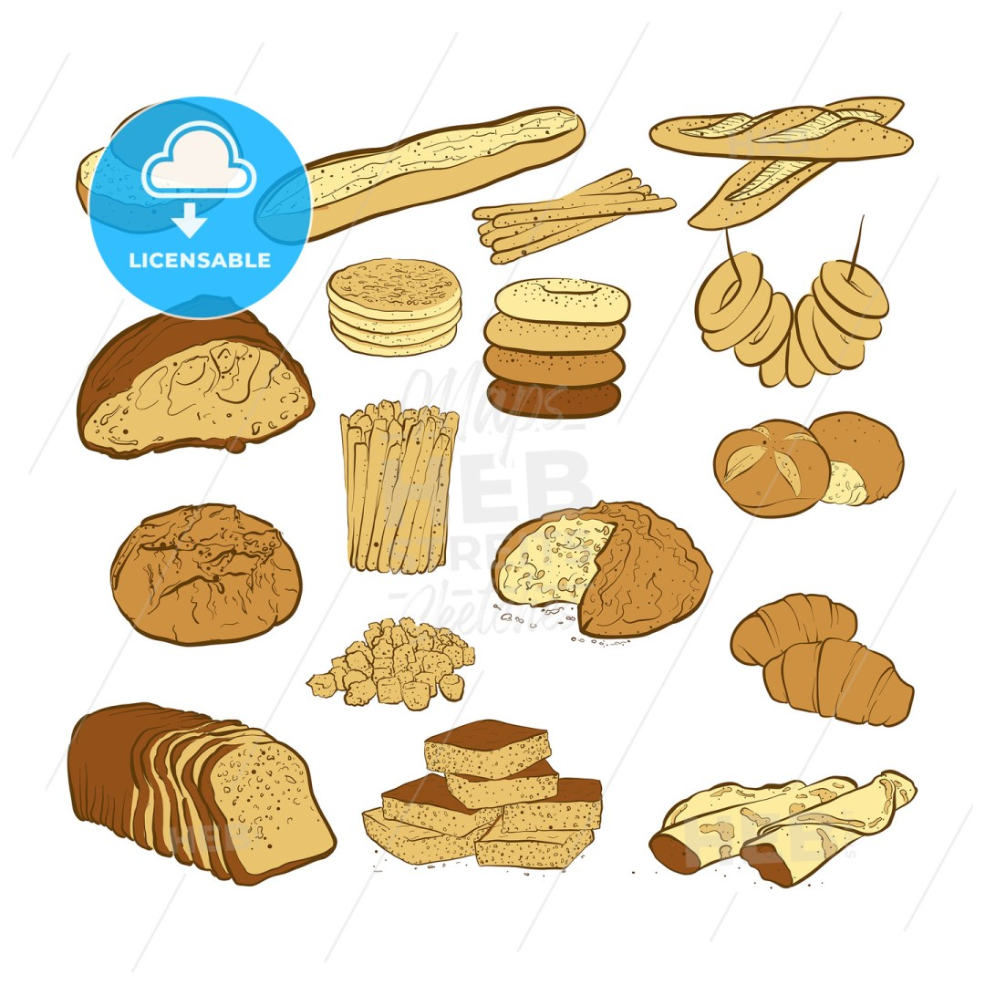 set of various colored breads
