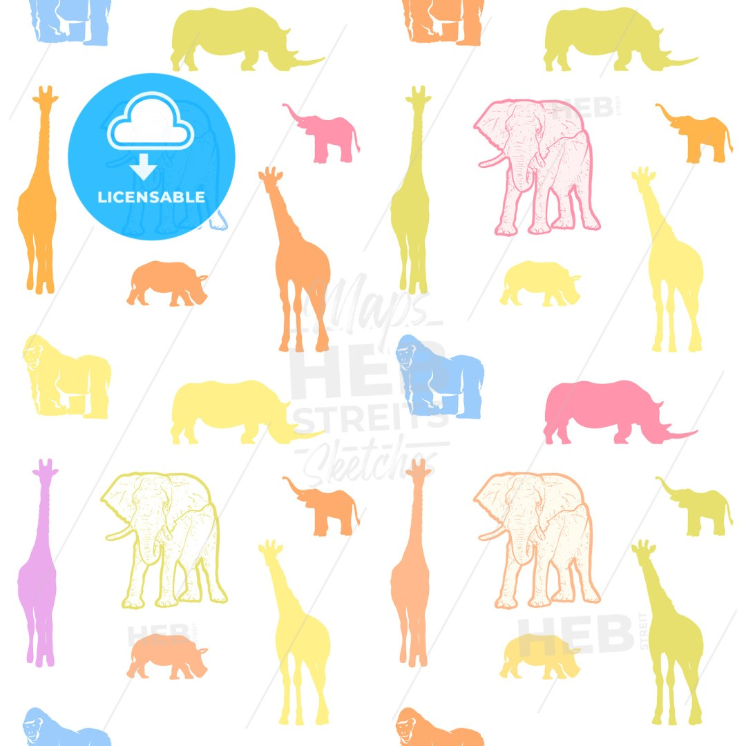 Seamless colorful kids animals art pattern