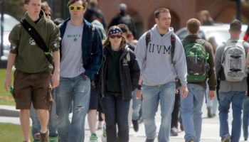 Students walk across campus at the University of Vermont on Monday, April 30, 2012 in Burlington, Vt.