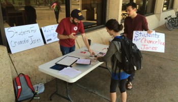 """Senior Ryan Felder (left) and sophomore Alex Borst (right) created the student group """"Students for Chancellor Jones,"""" which calls for the IHL board to reinstate the chancellor."""