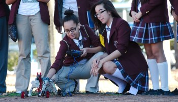 Middle school students from Young Women's Prep learn to drive a remote controlled rover during a Science, Technology, Engineering and Math (STEM) workshop at Space Center Houston, Tuesday, Jan. 27, 2015, in Houston.
