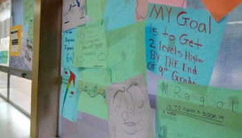 Student drawings share progress on reading goals at a California charter school.