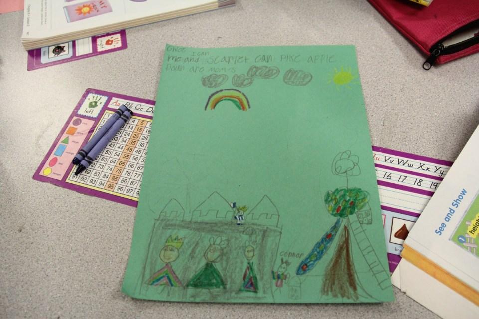 A student writing assignment in Lynn Chapman's kindergarten class.