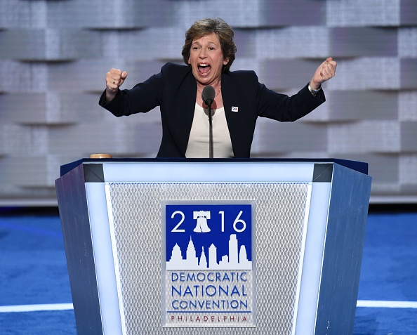 Randi Weingarten, president of the American Federation of Teachers (AFT), addresses delegates on the first day of the Democratic National Convention at Wells Fargo Center on July 25, 2016 in Philadelphia, Pennsyvania.