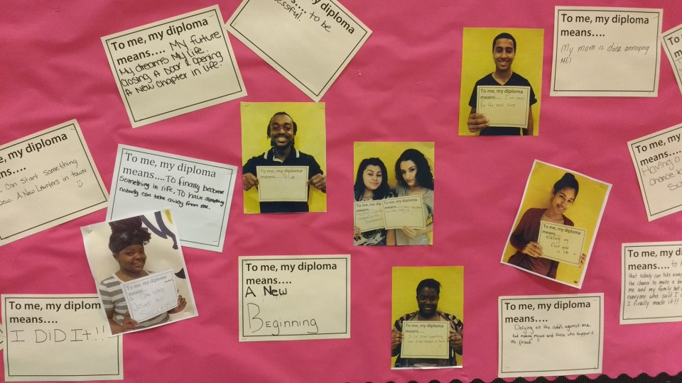 Wall of pride — Bronx Arena graduates voice what a high school diploma means to them.