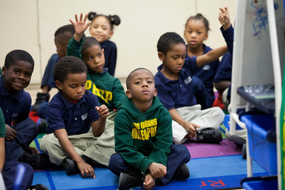 Kindergarten students participate in class at Sylvanie Williams College Prep elementary school, on January 16, 2015 in New Orleans, Louisiana.