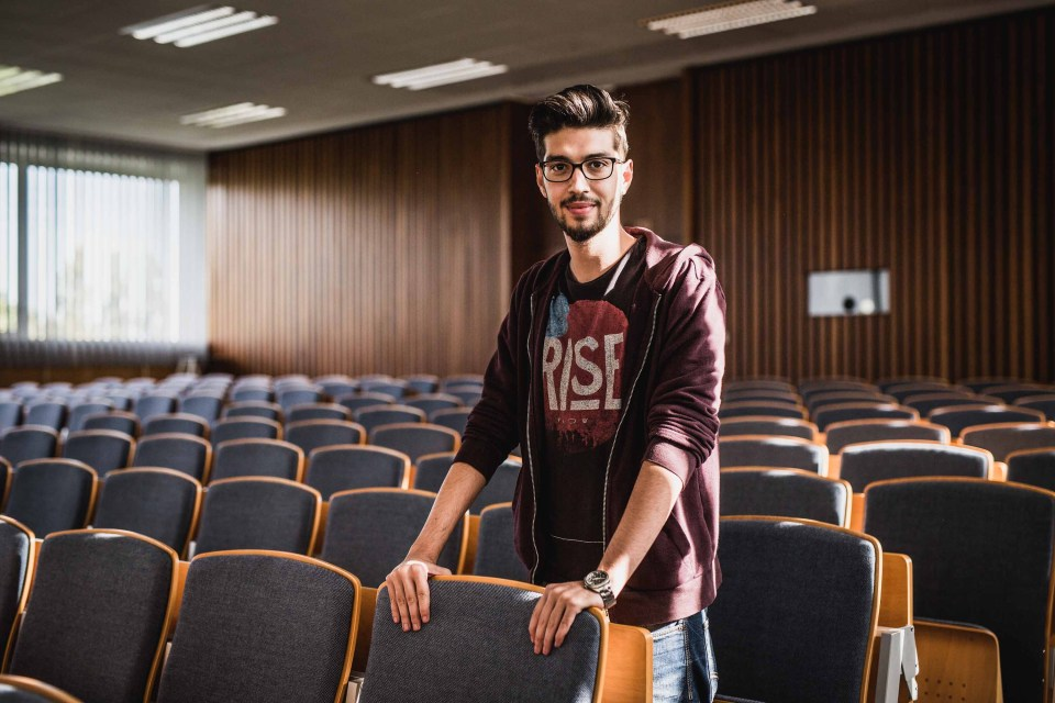 Zed Al Aas, a Syrian refugee who hopes to study bioinformatics in the United States, at an orientation for refugee students in Berlin.