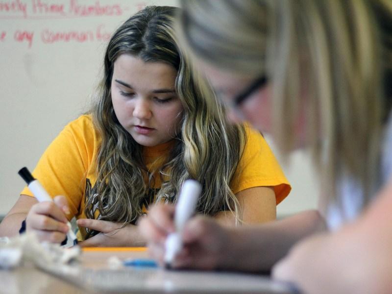 Students in Mount View High School teacher Amber Shirley's math class work on an assignment.