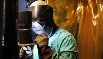 A welding student in a classroom at West Georgia Technical College.