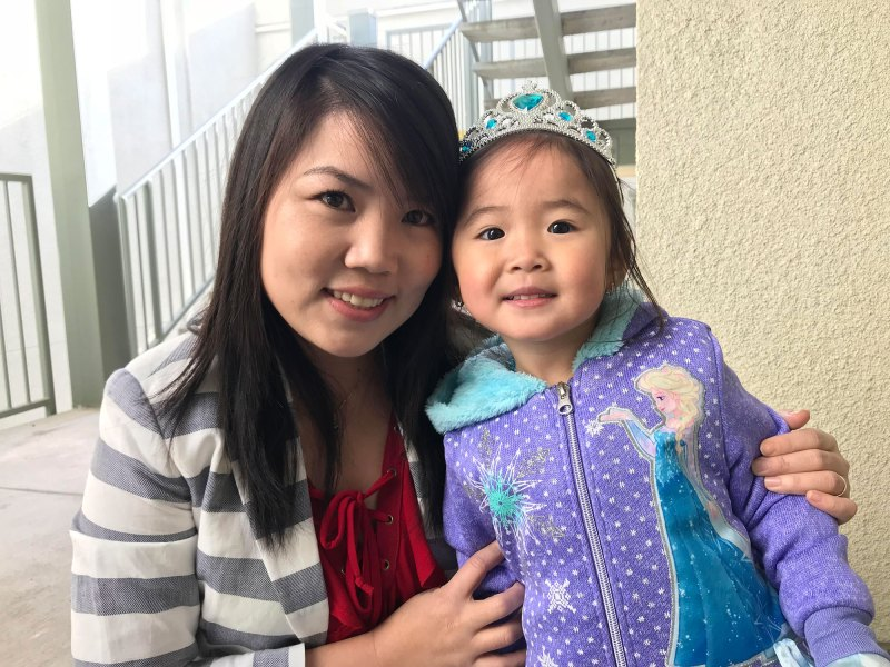 """Huyen Le and her daughter Katelynn Trinh. Through """"nudges"""" via texts, Le gets reminded of activities to do with Katelynn that enhance her learning."""